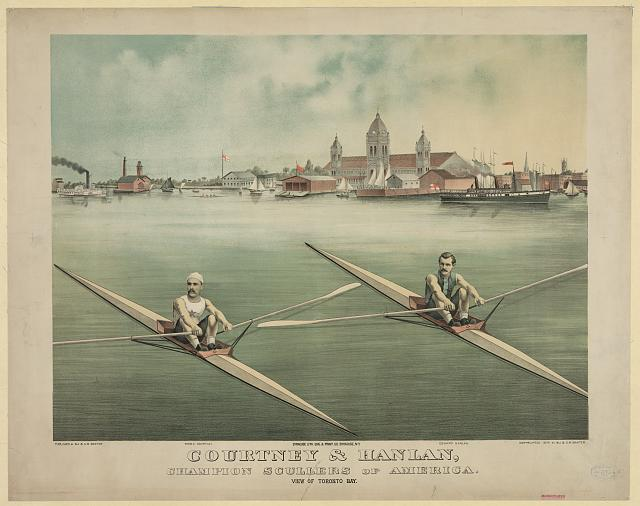 Courtney & Hanlan, champion scullers of America - view of Toronto Bay