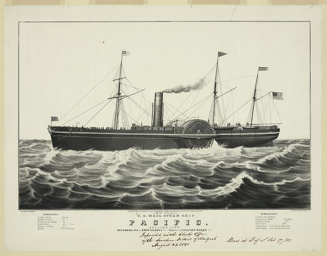 U.S. mail steam ship Pacific: Collins line, builders, hull by Brown & Bell N.Y. engines by Allaire Works N.Y.