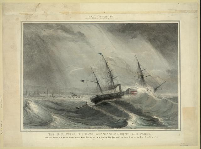 The U.S. Steam Frigate Mississippi, Com..re M.C. Perry--Going out to the relief of the American steamer Hunter a French bark [her prize] and an American pilot boat wrecked on Green Island reef near Vera Cruize March 21st, 1847