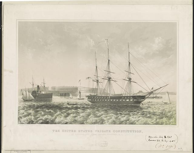 The United States frigate Constitution - at anchor off Fort Adams, Newport, R.I.