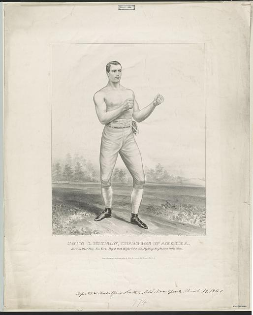 John C. Heenan, champion of America born in West Troy, New York, May 2, 1835, height 6 ft. 1 1/2 inch, fighting weight from 180 to 185 lbs /