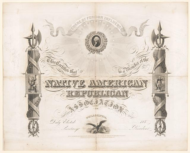 This certifies that [blank] is a member of the Native American Republican Association of Philadelphia