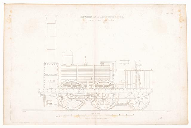 Elevation of a locomotive engine, Stanhope and Tyne Railway