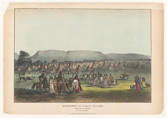 Encampment of Piekann Indians, near Fort McKenzie on the Muscleshell (sic?) River