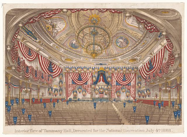 Interior view of Tammany Hall, decorated for the National Convention July 4th 1868
