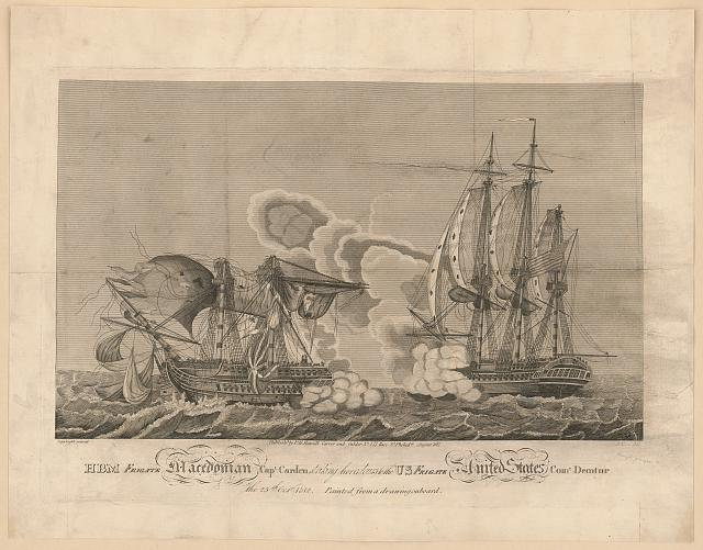 HBM frigate Macedonian, Capt. Carden, striking her colours to the U.S. frigate United States, Com'd. Decatur the 25th Octr. 1812