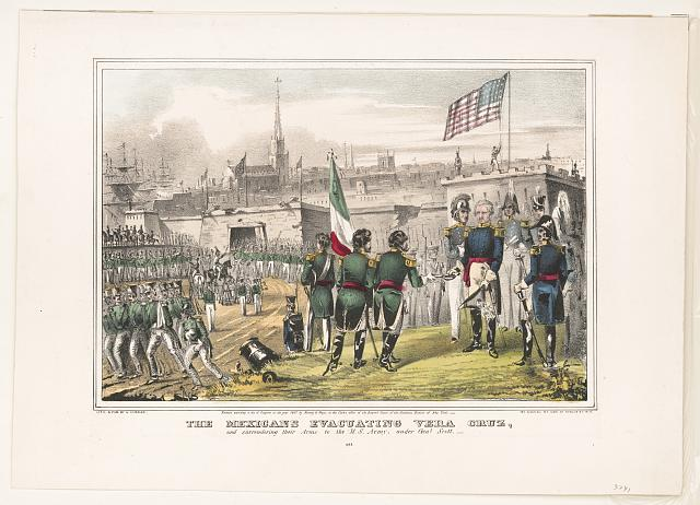 Mexicans evacuating Vera Cruz: and surrendering their arms to the U.S. Army, under Genl. Scott