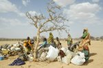 [Sudanese refugee women and children at Camp Mile, Chad]