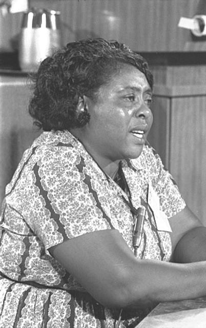 [Fannie Lou Hamer, Mississippi Freedom Democratic Party delegate, at the Democratic National Convention, Atlantic City, New Jersey, August 1964]