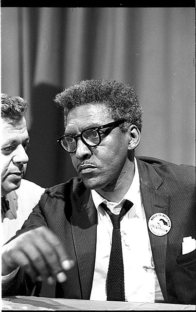 Bayard Rustin at news briefing on the Civil Rights March on Washington, 1963, Library of Congress Prints and Photographs Division