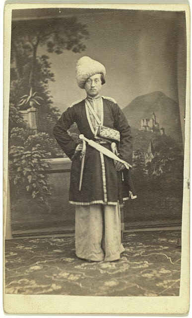 [Full-length portrait of unidentified man in Georgian(?) dress, facing front]