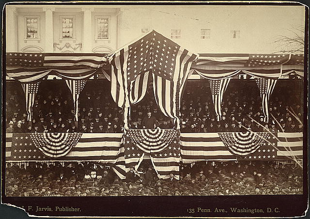 [President Cleveland in reviewing stand, in front of the White House, during his inauguration, March 4, 1885]