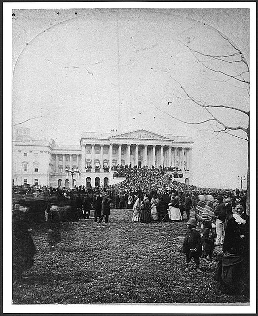 [Inauguration of President Hayes, showing Senate wing of the U.S. Capitol and the crowd on the lawn before it, March 5, 1877]