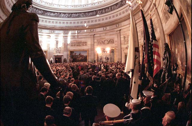 [Fish-eye view of the rotunda in the U.S. Capitol, just prior to the swearing-in ceremony of Ronald Reagan, January 21, 1985]