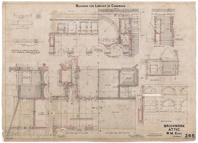 [Library of Congress (Washington, D.C.). Attic. Brickwork. Plans, sections, and elevations. Working drawing]