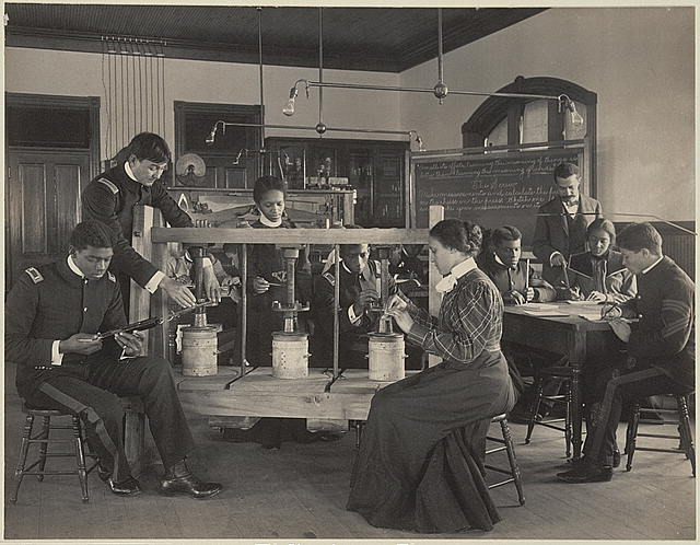 [The cheese press screw - students studying agricultural sciences, Hampton Institute, Hampton, Virginia]