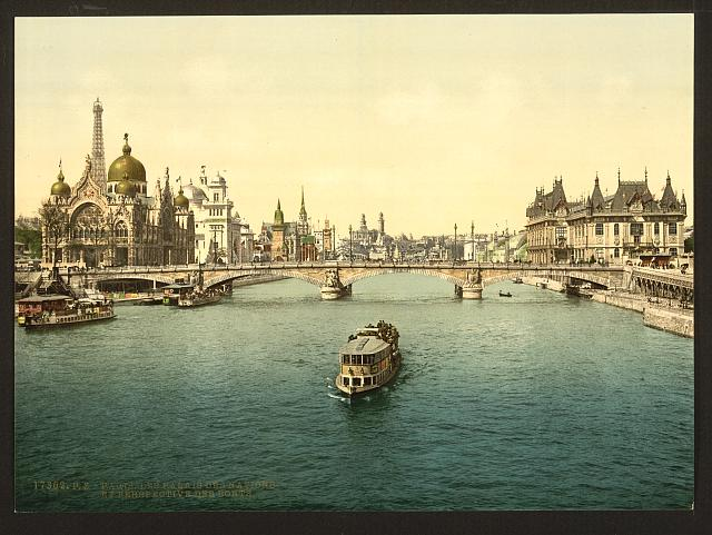 [The Pavilions of the Nations and persepective of the bridges, Exposition universelle internationale de 1900, Paris, France, with the Italian pavilion on the left]