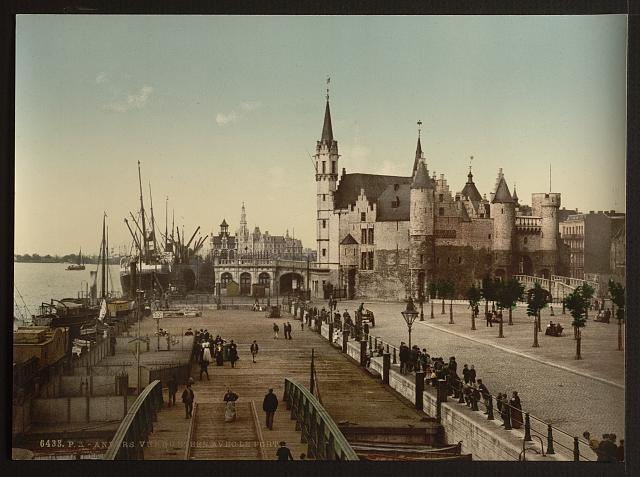 [View of the Steen with the port, Antwerp, Belgium]