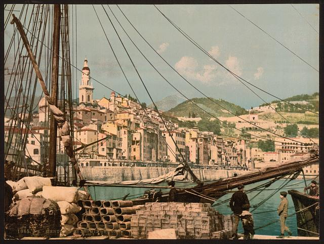 [View from the harbor, Mentone, Riviera]