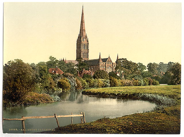 [Cathedral, from the river, Salisbury, England]