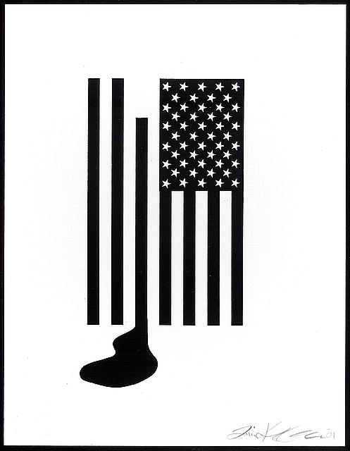[Stylized American flag bleeding in response to the September 11th terrorist attacks on the United States]