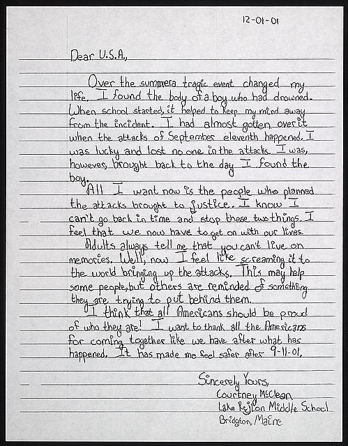 Dear U.S.A., over the summer a tragic event changed my life ...