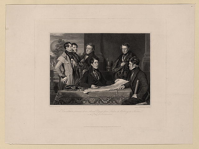A consultation previous to an aerial voyage from London to Weilburg in Nassau on the 7th day of November, 1836
