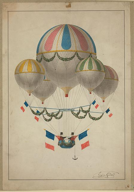 [A lighter-than-air craft, consisting of one large balloon and four smaller balloons harnessed together, decorated with French flags]