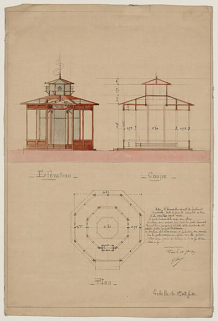"[Architectural drawing showing elevation, cross section, and plan for a ""hirondellier militair,"" a military aviary for swallows used as messenger birds]"