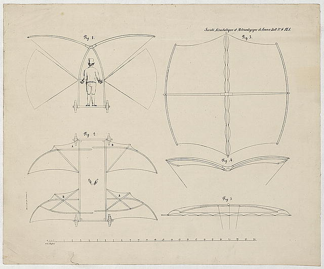 [Design drawing for a man-powered flying machine designed by Sir George Cayley]