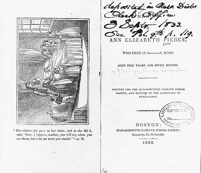 """[Title page from """"Memoir of Ann Elizabeth Pierce"""" and frontispiece engraving of a dying girl lying in bed  surrounded by her family]"""