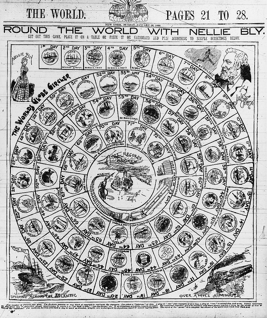 Round the World with Nellie Bly Game board, The World, January 26, 1890