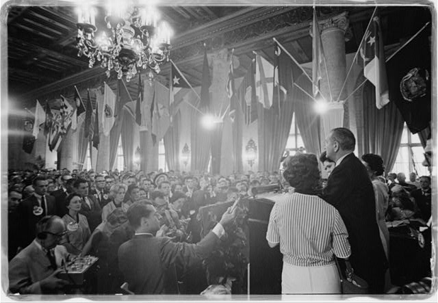 Reception held at Biltmore Hotel by Sen. and Mrs. Lyndon Johnson