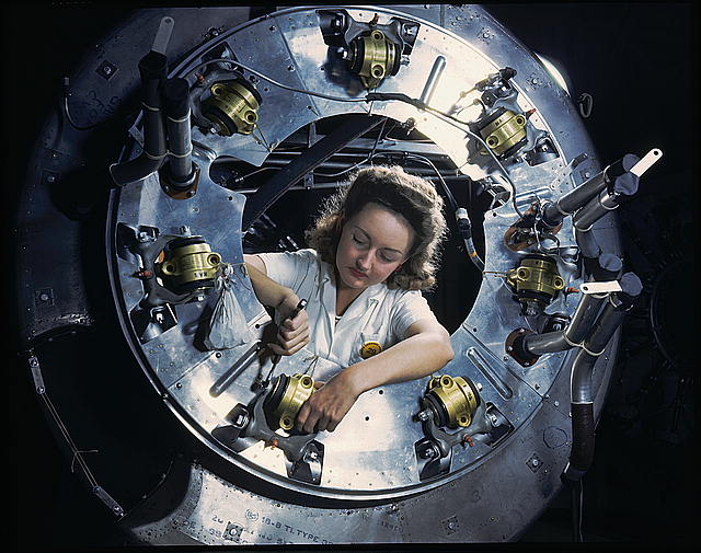 Part of the cowling for one of the motors for a B-25 bomber is assembled in the engine department of North American [Aviation, Inc.]'s Inglewood, Calif., plant