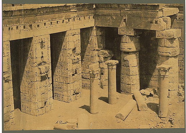 [Ruins of the second court at the back of the Palace/Temple of Ramses III at Medinet-Habu, Thebes, Egypt]