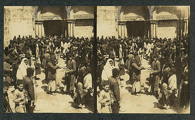 Egg breaking on Easter before the Holy Sepulchre