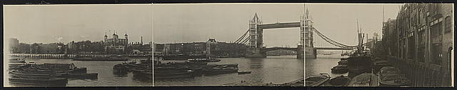 Panoramic view of Tower of London & Tower Bridge