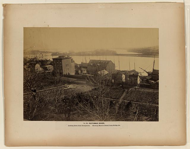 Potomac River, looking down from Georgetown, showing Mason's Island, Long Bridge, &c