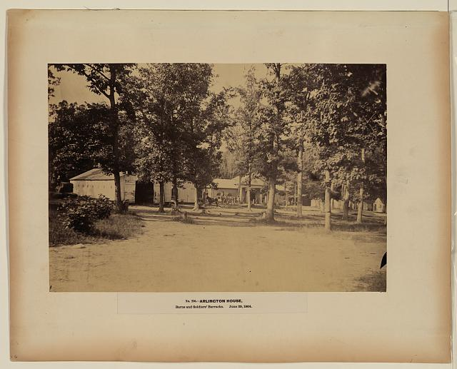 Arlington House, barns and soldiers' barracks, June 29, 1864