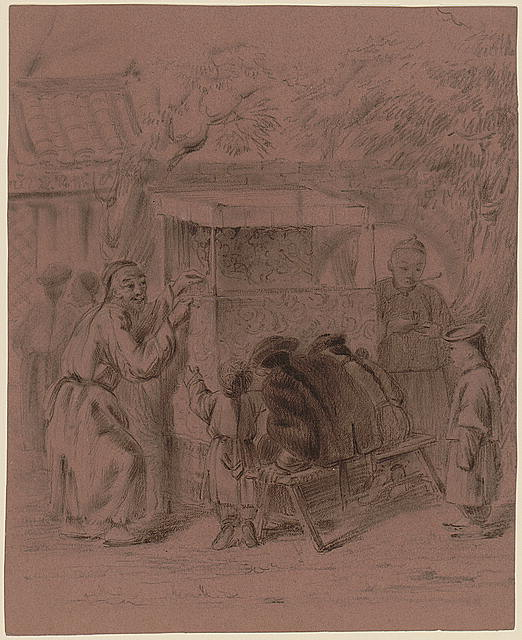 [Puppet show operated by a man standing on the left, with spectators in front, two sitting on a bench and two standing, and another man is standing on the right side of the booth]