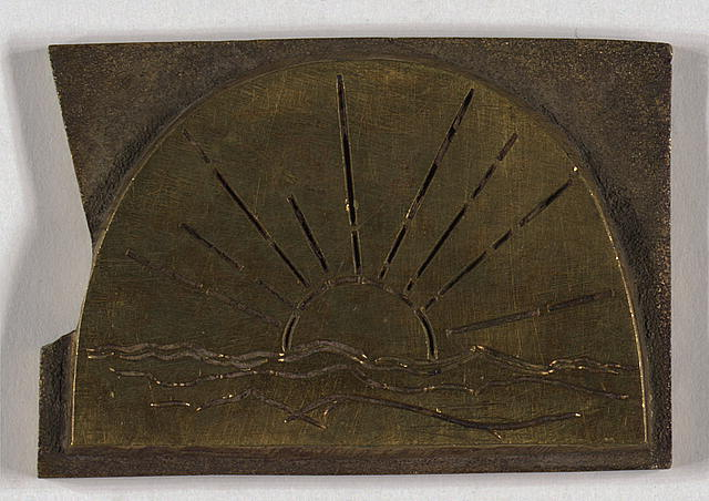 Original brass dies used for 1860 edition of leaves of grass. [Sunrise on irregularly-shaped plate]