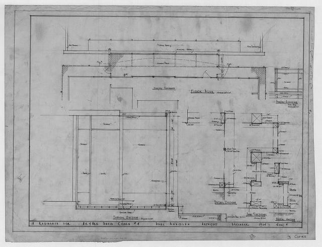 [Cohen residence, Siesta Key, Florida. Screen porch. Sections, plan and elevation]