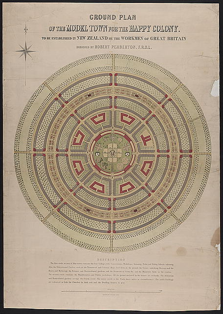 Ground plan of the model town for the happy colony to be established in New Zealand by the workmen of Great Britain