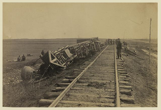 "Engine ""Government"" [Commodore?] down the ""banks"" near Brandy, April 1864"