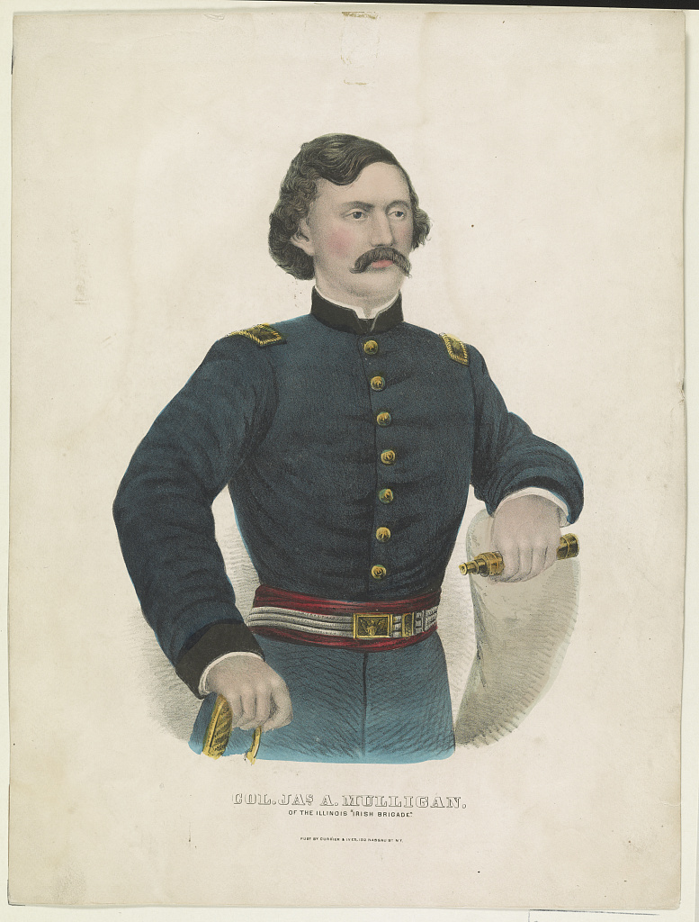 Color lithograph image of Colonel Mulligan holding item that appears to be a small telescope.