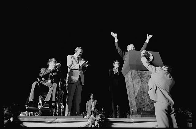 [President Gerald Ford on stage with George Wallace at a campaign stop in the South]