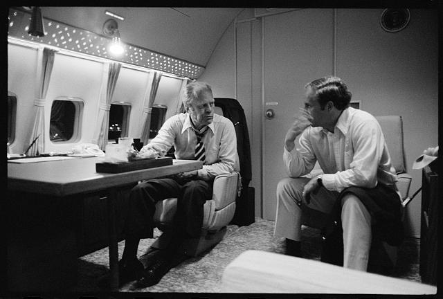 [President Gerald Ford aboard Air Force One during a campaign trip in the South]