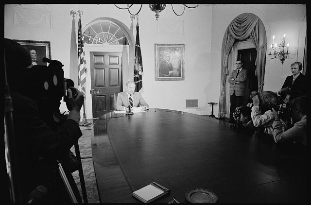 [President Gerald Ford being photographed while announcing amnesty for draft evaders at the White House, Washington, D.C.]