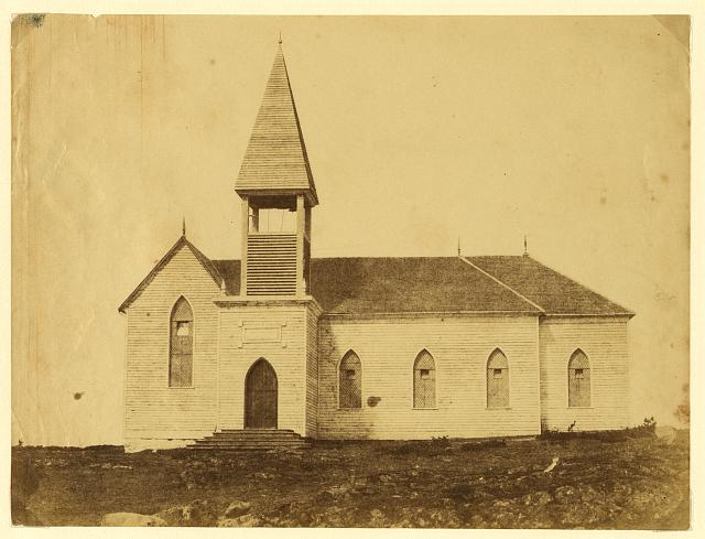 [Exterior view of church, in the community around Fort Victoria on Vancouver Island, British Columbia]