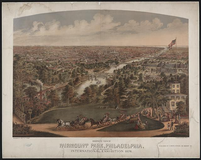 Birdseye view of Fairmount Park, Philadelphia, with the buildings of the International Exhibition 1876